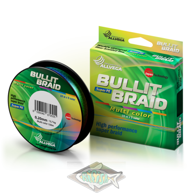 Плетенка BULLIT BRAID MULTI COLOR 150м 10mх5 color  0.4 мм
