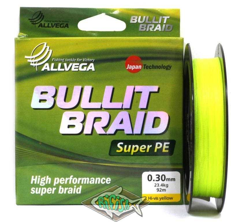 Плетенка BULLIT BRAID 92м Hi-Vis Yellow  0,28 мм